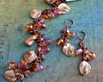 Peachy Copper Beaded BRACELET and EARRINGS SET // Shell // Beachy // Gift For Her // Gift boxed