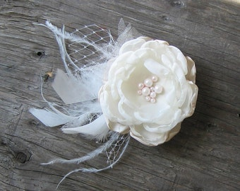 Bridal hair flower . Fabric flower hair clip . Ostrich feathers, Russian netting, tulle and glass or fresh water pearls