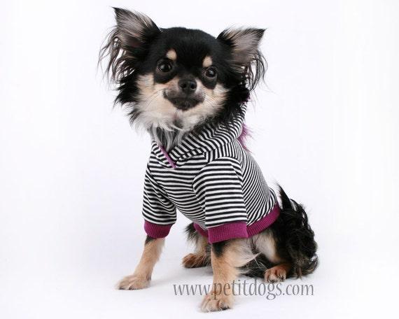 Dog Hoodie XXS teacup mohawk purple stripe dog hoodie