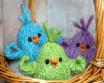 Three Birds, Easter Chicks, Knit Birds, Stuffed Birds, Toy Birds, Bird Toys, Spring Celebration Toys, Bird Nursery, Easter Basket boys,