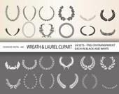 48 Wreath and Laurel Clipart Digital Design Elements for invitations, scrapbooking INSTANT DOWNLOAD  Clip Art Designs  466