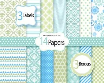 Diigital paper, scrapbook paper, damask digital paper, blue and green, digital backgrounds - 14 jpg files 12x12 - INSTANT DOWNLOAD Pack 442