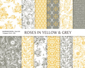 Yellow and grey Digital paper, floral scrapbook paper, 12 jpg 12x12 -INSTANT DOWNLOAD Pack 459