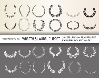 48 Wreath and Laurel Clipart Digital Design Elements for invitations, scrapbooking INSTANT DOWNLOAD  Clip Art Designs  466