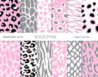 Animal Print Digital Paper Pack for Scrapbooking, Photography, Web,  Stationary INSTANT DOWNLOAD 12 jpg  files - Pack 472