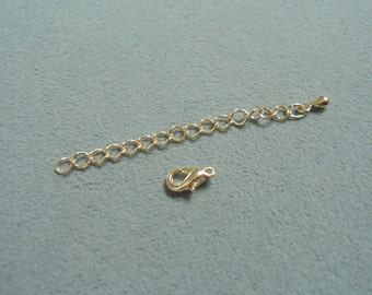 F-97-1.  100set Gold Plated Lobster Clasp with Extension Chain