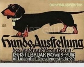 DACHSHUND--Hunde Austellung- DOG SHOW Poster-Club Berlin Germany Poster Art Print -Magnet- Russia