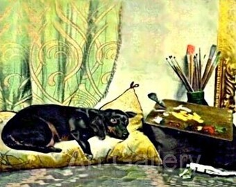 Black DACHSHUND ARTIST Rests on Pillow Vintage Teckle Antique Art Print MAGNET