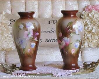 REDUCED!  Pair Gorgeous Vintage FLORAL Mantle VASES, Pastels, Tulips, 1940s