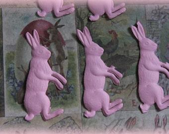 3 German Dresden Pink Embossed Bunnies