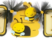 Gender Neutral bee baby shower banner, yellow chevron, and black,
