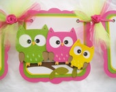 Owl family baby shower banner, its a girl banner, fuchsia, lime green and yellow