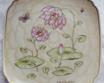 Now Reduced Vintage Ole Winther Plate Mother and Child Pink Water Lily Butterfly Hutschenreuther Limited Edition 1982 Art Nouveau