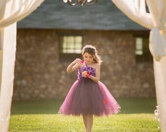 Beautiful Plum Purple Hydrangea tutu dress - flower girl dress - birthday dress - choose your dress color - size 6-12