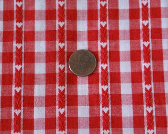 """1 Yard 45"""" Wide Red and White Gingham Cotton"""