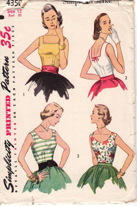 1950's Misses Blouse Simplicity 4350 Size 12 Bust 30