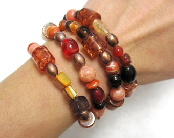 Rich Copper Wrap Bracelet Stone Shell Glass Vintage Beads No Skulls