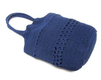 Blue Purse Crochet Hobo Bucket Handbag
