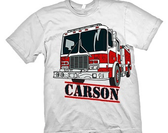 Personalized BOYS Fire truck Fireman T shirt name Age Birthday Party Tee All Sizes
