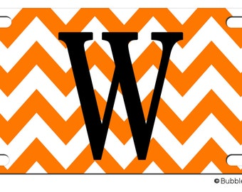 PERSONALIZED LICENSE Plate Chevron stripes Big INITIAL letter Pattern custom Car Tag Name Any Color Monogram
