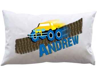 Personalized Adorable Boys Pillowcase  MONSTER TRUCK 2 Stock car Bedroom Decoration Name Pillow birthday