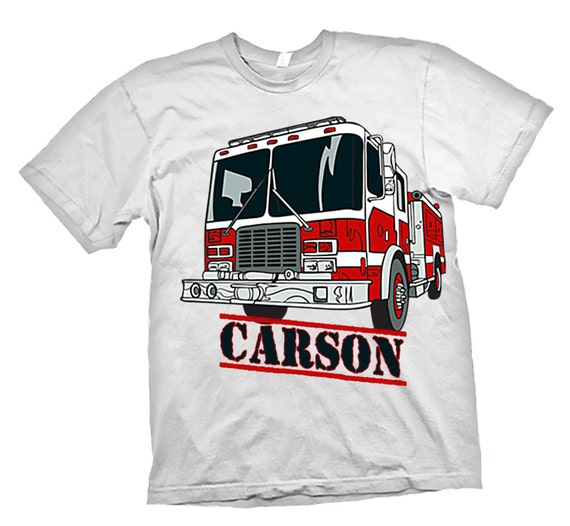 Personalized Boys Fire Truck Fireman T Shirt Name Age Birthday