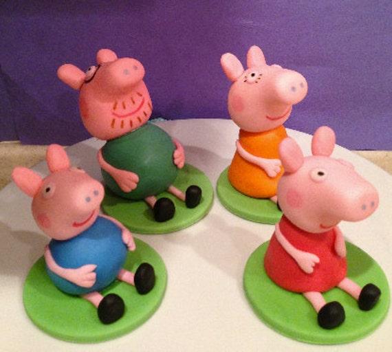 Fondant Cake Decorations Uk : Items similar to Peppa Pig Inspired Fondant Cake Toppers ...