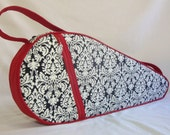Padded Damask tennis bag-choose your accent color