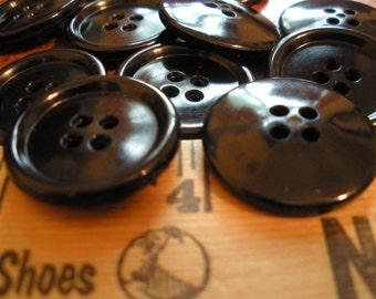 "On Sale Black Vintage Buttons Bulk Lot 48 Le Chic Plastic 7/8"" (22MM) Size 36L 4 hole sew-on sewing crafts coat size 1 rim NOS"