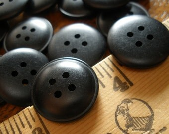 "72 Bulk Matte Black Buttons -3/4"" Plastic 4-hole (30L 19MM) sew on VINTAGE sewing crafts scrapbook bulk crafts dome shape eyes steampunk"