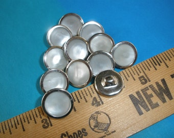 """Cool Vintage Pearlescent Inset Silver Color Shank Buttons Lot -metal 9/16"""" (size 22L 14MM) 18 each silver tone pearly inset sewing crafts"""