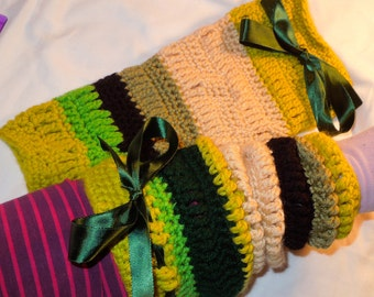 Katie - Crochet Leg Warmers with a Ribbon Top