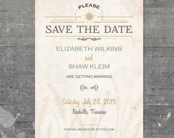 Printable Save the Date - Wheat