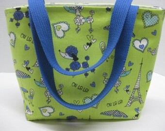 Poodle Dog , Eiffel Towers In France  Women Tote.(Mint Green and Blue)