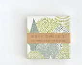 Evergreen Forest Ceramic Tile Coasters Emerald Green Abstract Japanese, set of 4