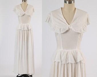 1930s dress/ 30s cotton maxi dress/ tail ruffle