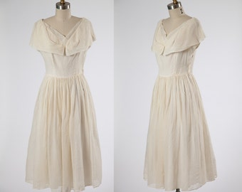 1950s dress/ 50s organza party dress/ small