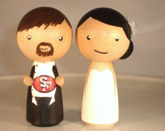 Choose Your Sports Theme Wedding Cake Topper - Kokeshi Sports Topper San Francisco Giants Custom Wedding Cake Topper-Personalized for You