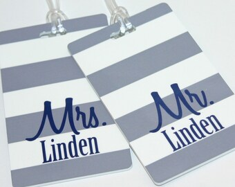 Mr. and Mrs. Luggage Tags - Monogrammed Luggage Tags - Couples Bag Tag - Shower Gift - Wedding Gift - Couples Luggage Tag - Personalized