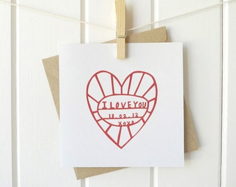 I LOVE YOU | personalised paper cutting greetings card
