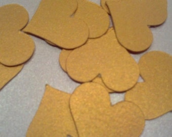 50 Metallic Gold Heart Die Cuts Confetti 1 inch