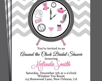 Around the Clock Bridal Shower Invitation Printable or Printed with FREE SHIPPING