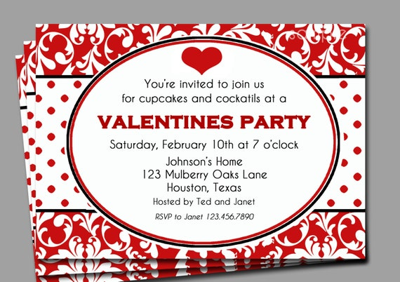 Valentine's Invitation Printable or Printed with FREE