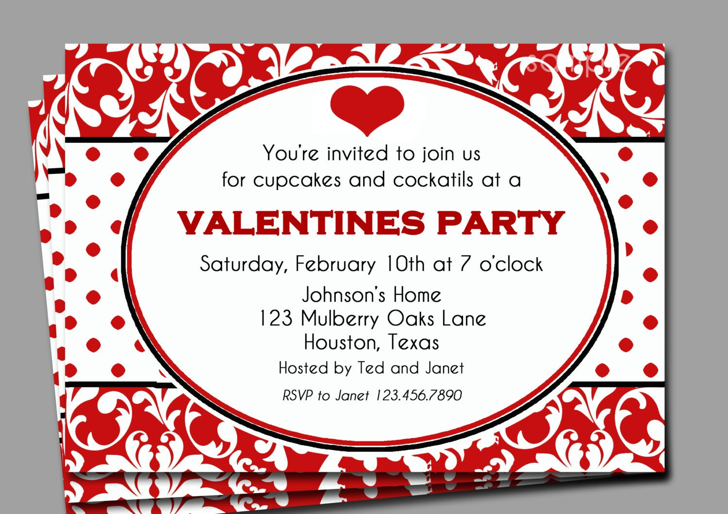 Valentine\'s Invitation Printable or Printed with FREE
