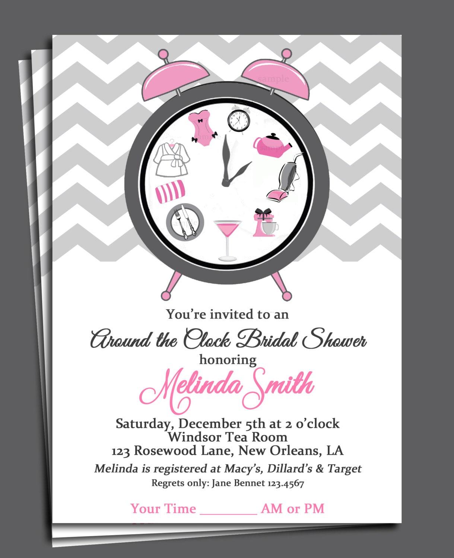 Around the Clock Bridal Shower Invitation Printable or Printed