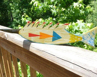 John Lynch, Funky Fish Primitive Style Wood Carving  Folk Art Swordfish , Rustic from Salvaged Pine b2
