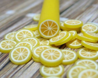 Lemon polymer clay fruit cane 1pcs for miniature foods decoden and nail art supplies uncut DIY