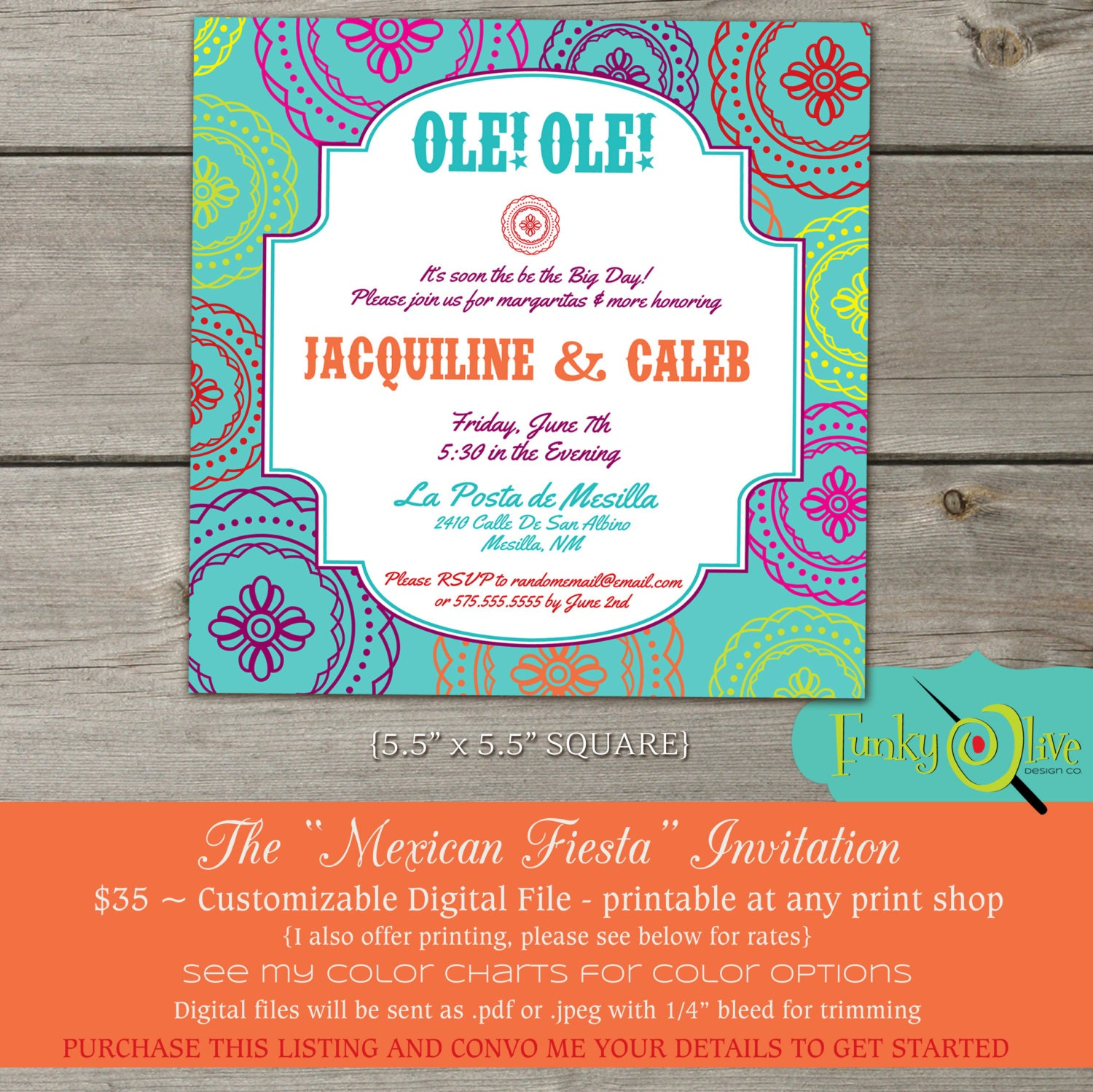 The Mexican Fiesta Fun Bold Invitation DIGITAL FILE