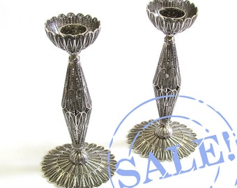 SALE 15% OFF - Sterling Silver Filigree Candles Holder / Candlesticks Judaica - Free Express Shipping ID717