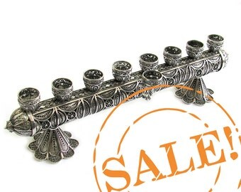 SALE 20% OFF -  2 in 1  Hanukkah Menorah & Candlesticks 925 Sterling Silver Artisan Judaica, - Free Express Shipping ID914